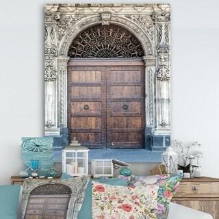 Designart 'Old Door in Catania, Italy' Vintage Canvas Art - Brown