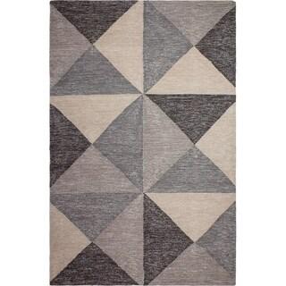 Handmade Coonoor Multi Gray and Black Rug - 4' x 6' (India)