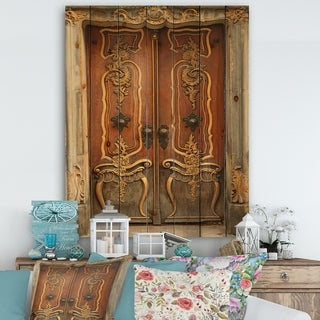 Designart 'Brown Old Door With Gold Ornaments' Vintage Premium Canvas Wall Art - Multi-color