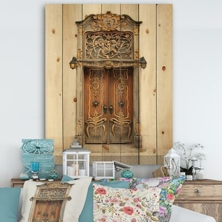 Designart 'Old Door With Gold Ornaments' Vintage Print on Natural Pine Wood - Multi-color