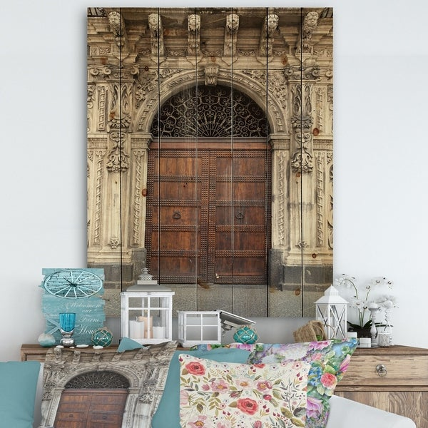 Designart 'Old Door in Catania' Vintage Print on Natural Pine Wood - Brown/White