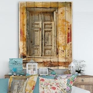 Designart 'Old Traditional Greek Doors' Vintage Print on Natural Pine Wood - Multi-color