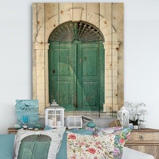 Designart 'Old European Vintage Door' Vintage Print on Natural Pine Wood - Green/White
