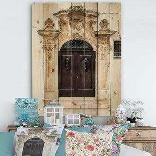 Designart 'Old door Bari Italy' Vintage Print on Natural Pine Wood - Multi-color