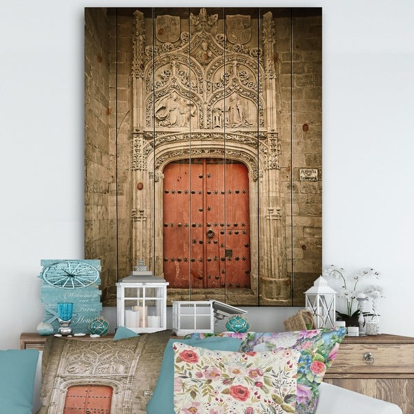 Designart 'Old Red Church Door in Salamanca Spain' Vintage Print on Natural Pine Wood - Multi-color