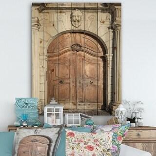 Designart 'Arched Medieval Palace Door' Vintage Print on Natural Pine Wood - Grey/Brown