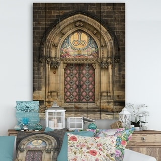 Designart 'Ornate Entrance of Church in Prague' Vintage Print on Natural Pine Wood - Multi-color