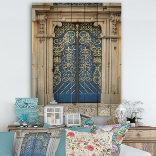 Designart 'Lavish Old-European Door Vintage' Vintage Print on Natural Pine Wood - Multi-color
