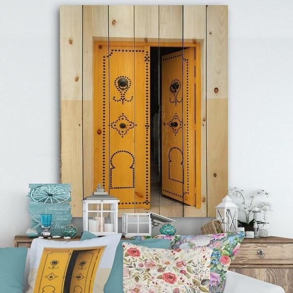 Designart 'Decorative Doors of Tunisia' Vintage Print on Natural Pine Wood - Multi-color