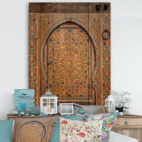 Designart 'Ancient Door Painting Morroco' Vintage Print on Natural Pine Wood - Multi-color