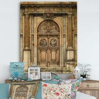 Designart 'Old Wooden Door With Carvings in Paris, France' Vintage Print on Natural Pine Wood - Multi-color