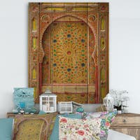 Designart 'Moroccan Entrance Door in Fez' Vintage Print on Natural Pine Wood - Multi-color