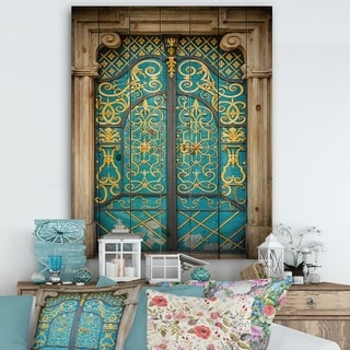 Designart 'Old-European Door Vintage' Vintage Print on Natural Pine Wood - Multi-color