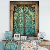 Designart 'Old-European Door Vintage' Vintage Print on Natural Pine Wood - Multi-color