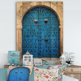 Designart 'Vintage North African Door' Vintage Print on Natural Pine Wood - Multi-color