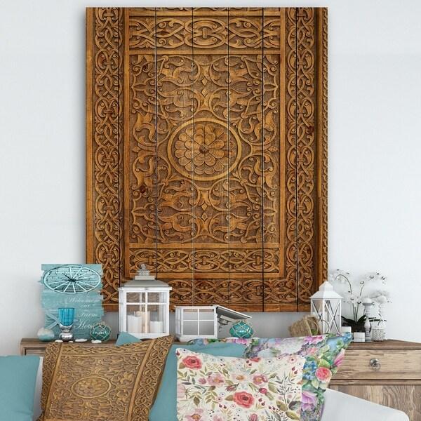 Designart 'Old Carved Wooden Door' Vintage Print on Natural Pine Wood - Multi-color