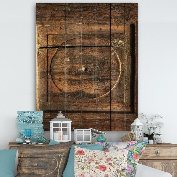 Designart 'Detail of Old Wooden Door' Vintage Print on Natural Pine Wood - Multi-color