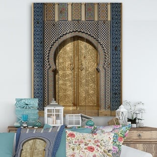 Designart 'Morroco Palace Golden Doors' Vintage Print on Natural Pine Wood - Multi-color