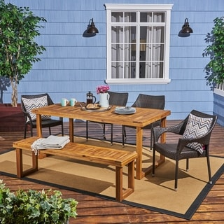 Lecanto Outdoor Aluminum Dining Set with Wicker Chairs and Bench by Christopher Knight Home