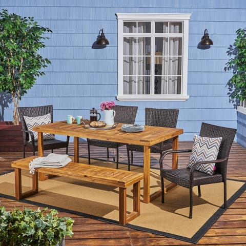 Nestor 6-piece Wood Dining Set with Wicker Chairs by Christopher Knight Home