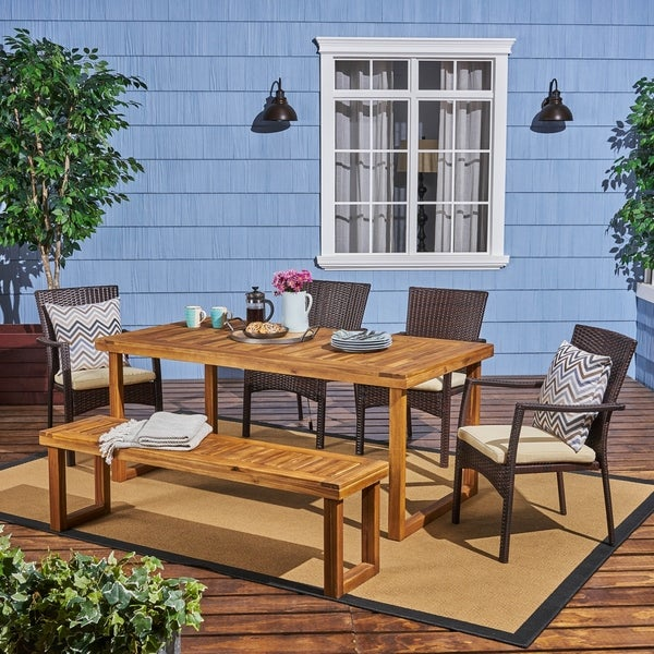 Garner Outdoor Aluminum Dining Set with Wicker Chairs and Bench
