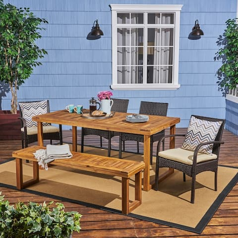 Stillwater Outdoor Aluminum Dining Set with Wicker Chairs and Bench