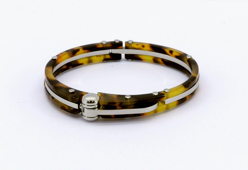 Faux Tortoise Shell Cuff-style Designer Bracelet