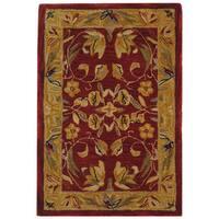 Safavieh Handmade Anatolia Oriental Burgundy/ Gold Hand-spun Wool Rug - 2' x 3'