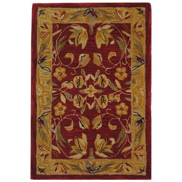 Safavieh Handmade Hereditary Burgundy/ Gold Wool Rug (2' x 3')