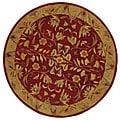 Safavieh Handmade Anatolia Oriental Burgundy/ Gold Hand-spun Wool Rug (6' Round)
