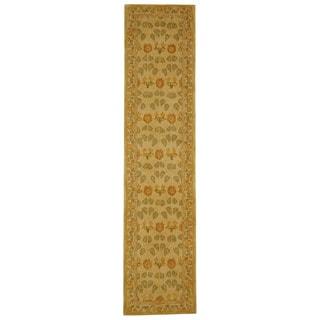 Safavieh Handmade Anatolia Oriental Traditional Ivory/ Green Hand-spun Wool Runner (2'3 x 10')