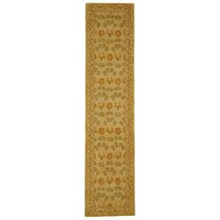 Safavieh Handmade Anatolia Oriental Traditional Ivory/ Green Hand-spun Wool Runner Rug - 2'3 x 12'