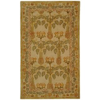 Safavieh Handmade Anatolia Oriental Traditional Ivory/ Green Hand-spun Wool Rug (3' x 5')