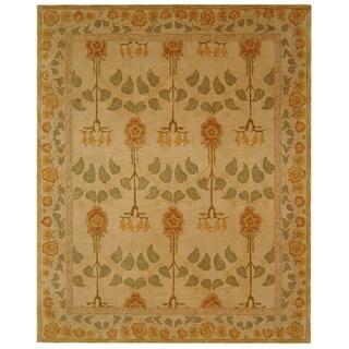 Safavieh Handmade Anatolia Oriental Traditional Ivory/ Green Hand-spun Wool Rug (9' x 12')