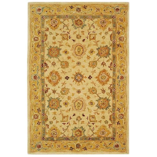 Safavieh Handmade Heirloom Ivory/ Gold Wool Rug (4' x 6')