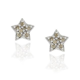 DB Designs Sterling Silver 1/8ct TDW Diamond Star Earrings