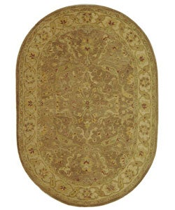 Safavieh Handmade Treasure Brown/ Gold Wool Rug (4'6 x 6'6 Oval)