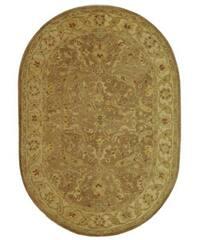 "Safavieh Handmade Treasure Brown/ Gold Wool Rug - 4'6"" x 6'6"" oval"