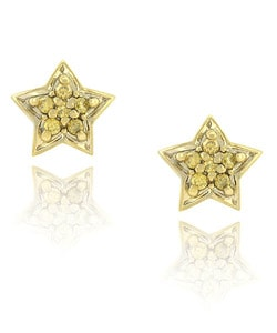 DB Designs 18k Gold Overlay 1/8ct TDW Diamond Star Earrings