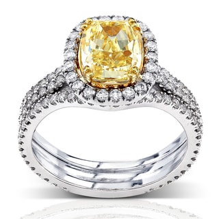 Annello by Kobelli 18k Gold 3ct TDW Fancy Yellow Diamond Ring