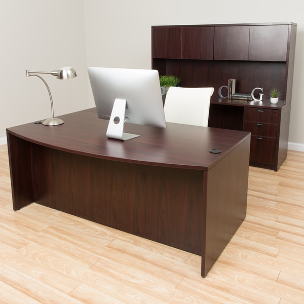 Boss Bow-front Workstation Desk with Hutch