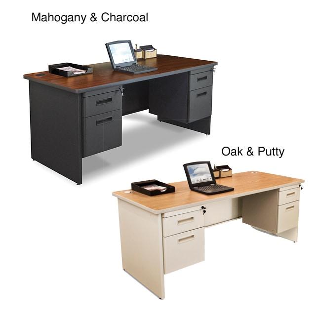 Marvel 66-inch Double Pedestal Steel Desk