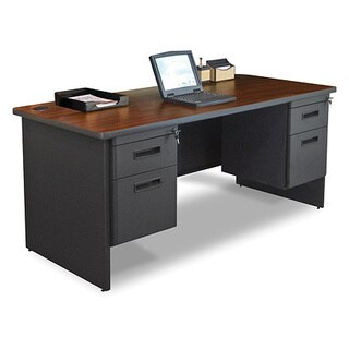 Marvel 66-inch Double Pedestal Steel Desk