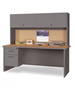 Marvel 72-inch Single Pedestal Steel Desk with Flipper Doors
