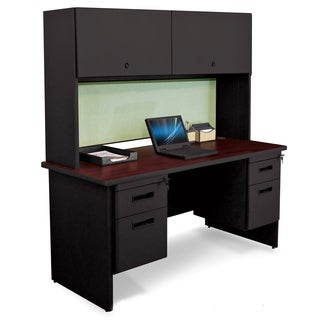 Marvel 60-inch Double Pedestal Steel Desk with Flipper Doors
