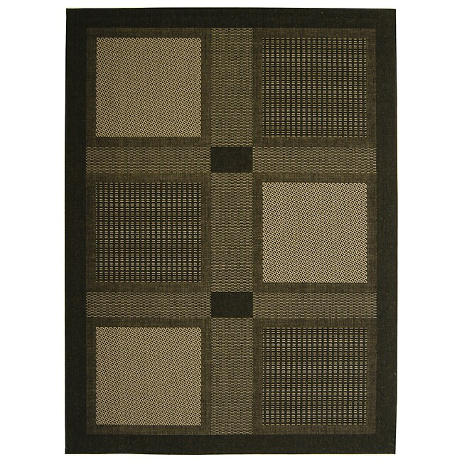 Safavieh Lakeview Black/ Sand Indoor/ Outdoor Rug (8' x 11')