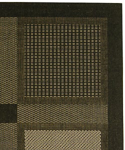 Safavieh Lakeview Black/ Sand Indoor/ Outdoor Rug (8' x 11') - Thumbnail 1
