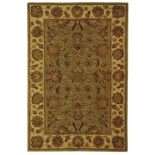 Safavieh Handmade Heritage Traditional Kerman Green/ Gold Wool Rug (4' x 6')