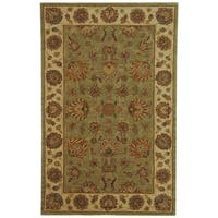 Safavieh Handmade Heritage Traditional Kerman Green/ Gold Wool Rug - 5' x 8'