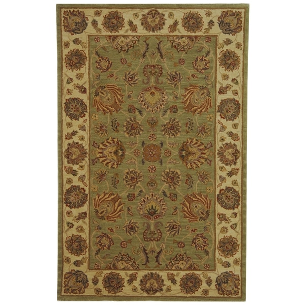 Safavieh Handmade Heritage Traditional Kerman Green/ Gold Wool Rug - 5' x 8'
